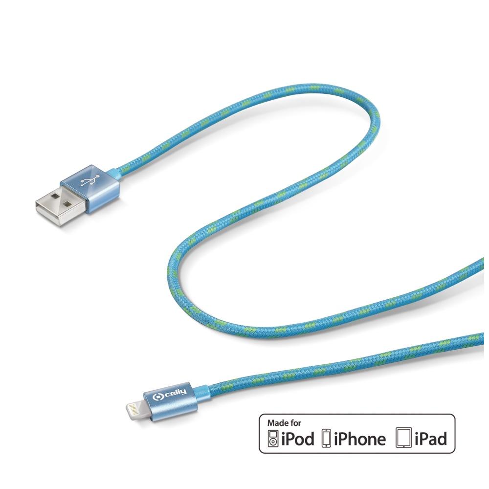 Datový kabel CELLY USB/Lightning textilní obal modrý