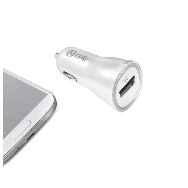 CL autonabíječka CELLY s USB výstupem 1A bílá (blister)