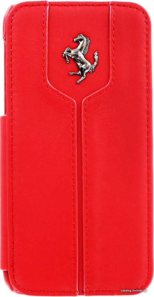 Flipové kožené book pouzdro pro iPhone 4/4S FEMTFLBKP4RE Ferrari Monte Carlo červené