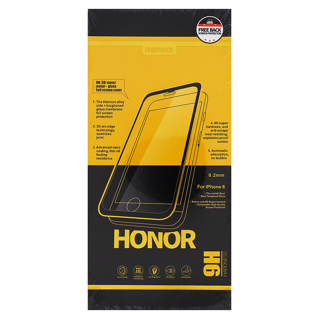 Tvrzené sklo Honor REMAX pro iPhone 6/6S Plus, Rose Gold Black