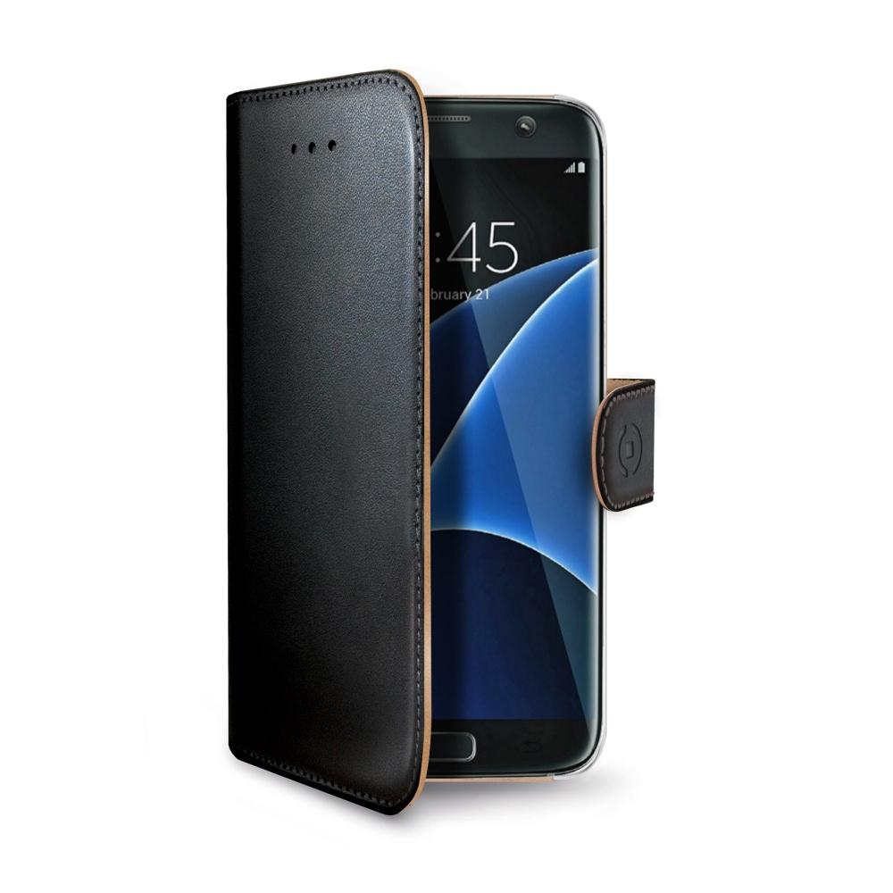 Pouzdro CELLY Wally pro Samsung Galaxy S7 Edge, PU kůže, černé