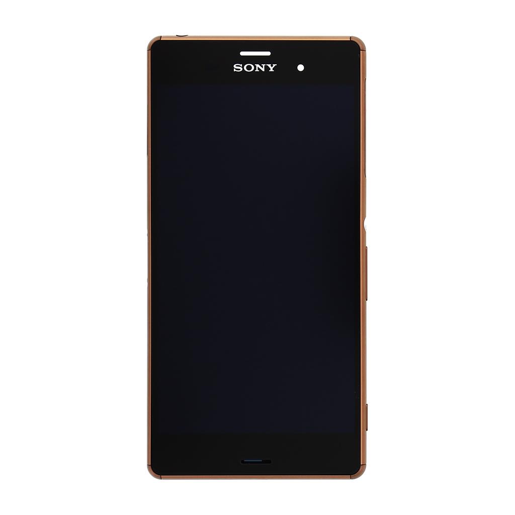LCD display + dotyk. deska + př. kryt pro Sony Xperia Z3 (D6603), měďěná (Service Pack)
