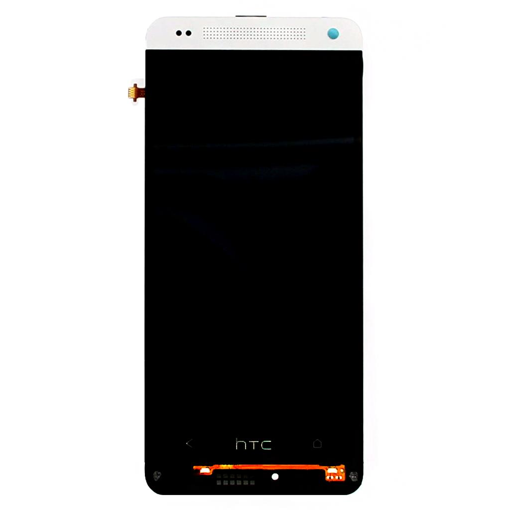 LCD display + dotyk. deska + př. kryt pro HTC ONE mini (M4), stříbrná