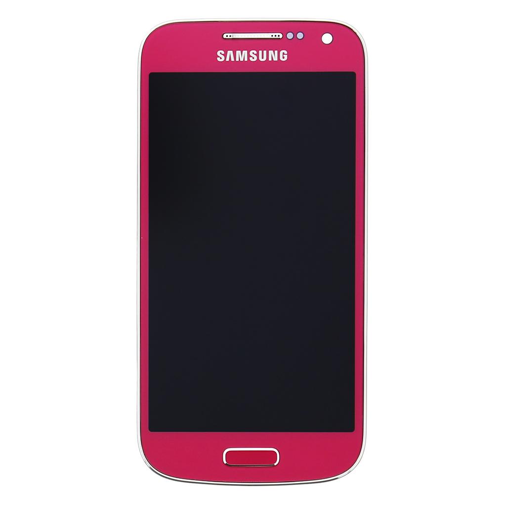 LCD display + dotyk. deska + př. kryt pro Samsung Galaxy S4 mini (i9195), růžová (Service Pack)