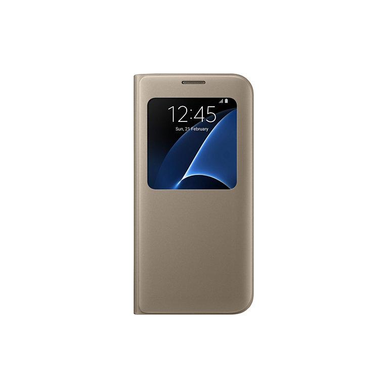 Flipové pouzdro S View Cover pro Samsung S7 Edge, zlaté