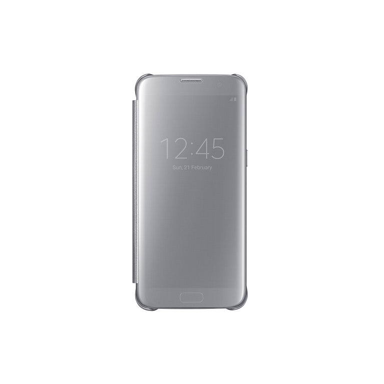 Flipové pouzdro Clear View pro Samsung S7 Edge, stříbrné