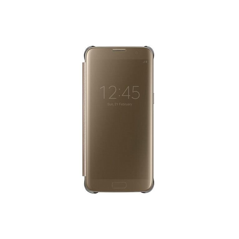 Flipové pouzdro Clear View pro Samsung S7 Edge, zlaté