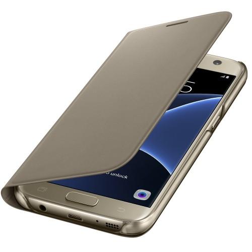 Flipové pouzdro typ peněženka pro Samsung S7 zlaté