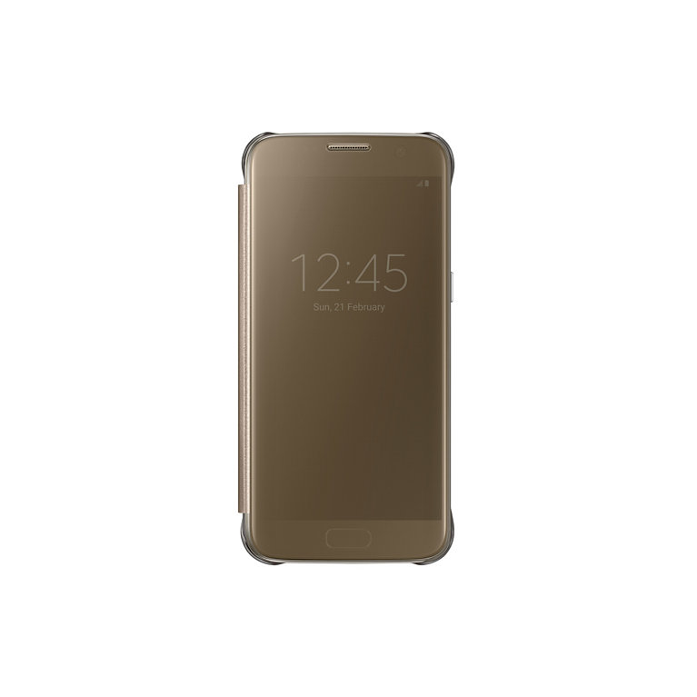 Flipové pouzdro Clear View Cover pro Samsung S7, zlaté