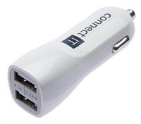 Nabíječka univerzální do auta CONNECT IT USB PREMIUM (2x USB 3,1A a 1A), bílá