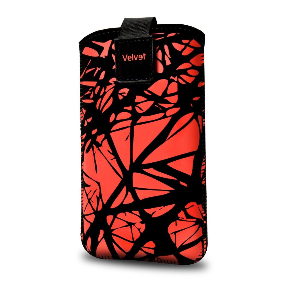 FIXED Velvet univerzální pouzdro, mikroplyš, motiv Red Cracks, velikost XL