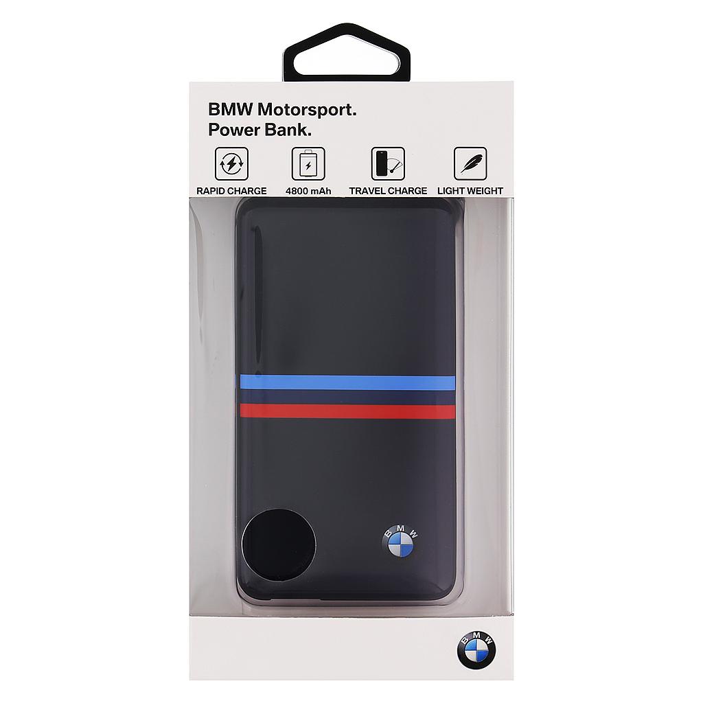 BMW Power Bank BMPBSBN Tricolor Stripes, 4800mAh černá