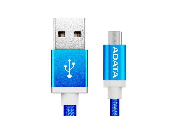 ADATA MicroUSB kabel nylonový 1m modrý