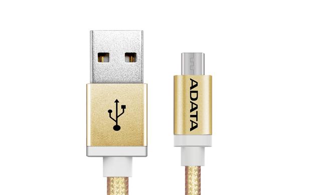 ADATA MicroUSB kabel nylonový 1m zlatý