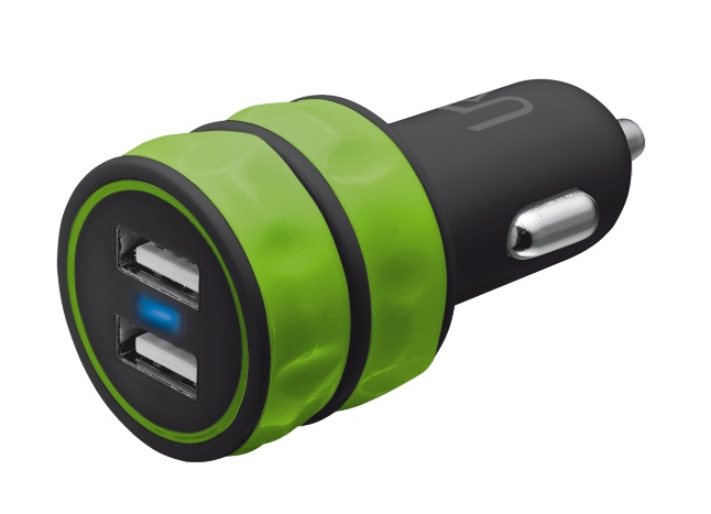 Nabíječka TRUST 10W Car Charger 2 USB, lime green