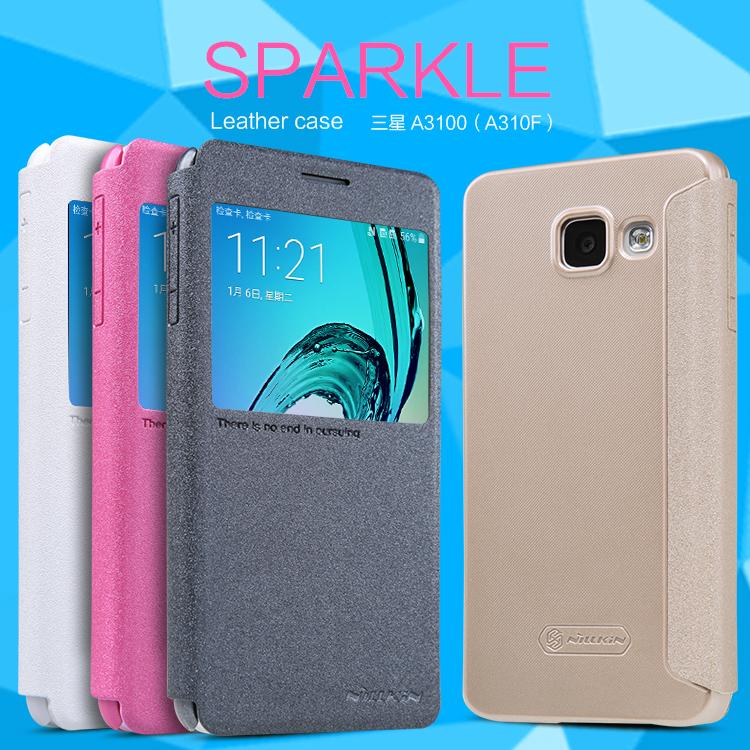 Flip, pouzdro na mobil Samsung Galaxy A3 (A310) 2016 Nillkin Sparkle S-View černé