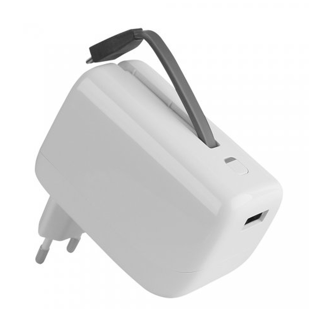 Univerzální cestovní nabíječka Fontastic VIRTUE s vestavěnou powerbankou, USB, 2.1A, 5200mAh, bílá