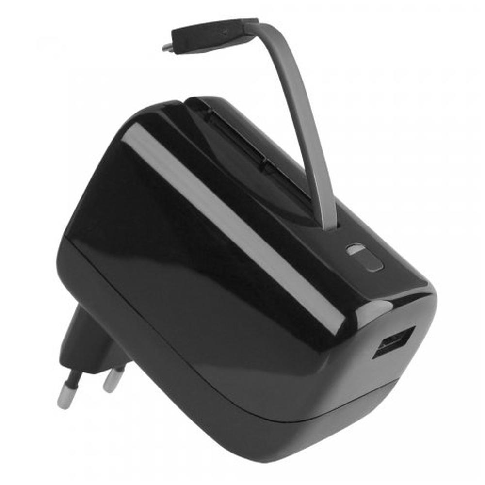 Univerzální cestovní nabíječka Fontastic VIRTUE s vestavěnou powerbankou, USB, 2.1A, 5200mAh, černá