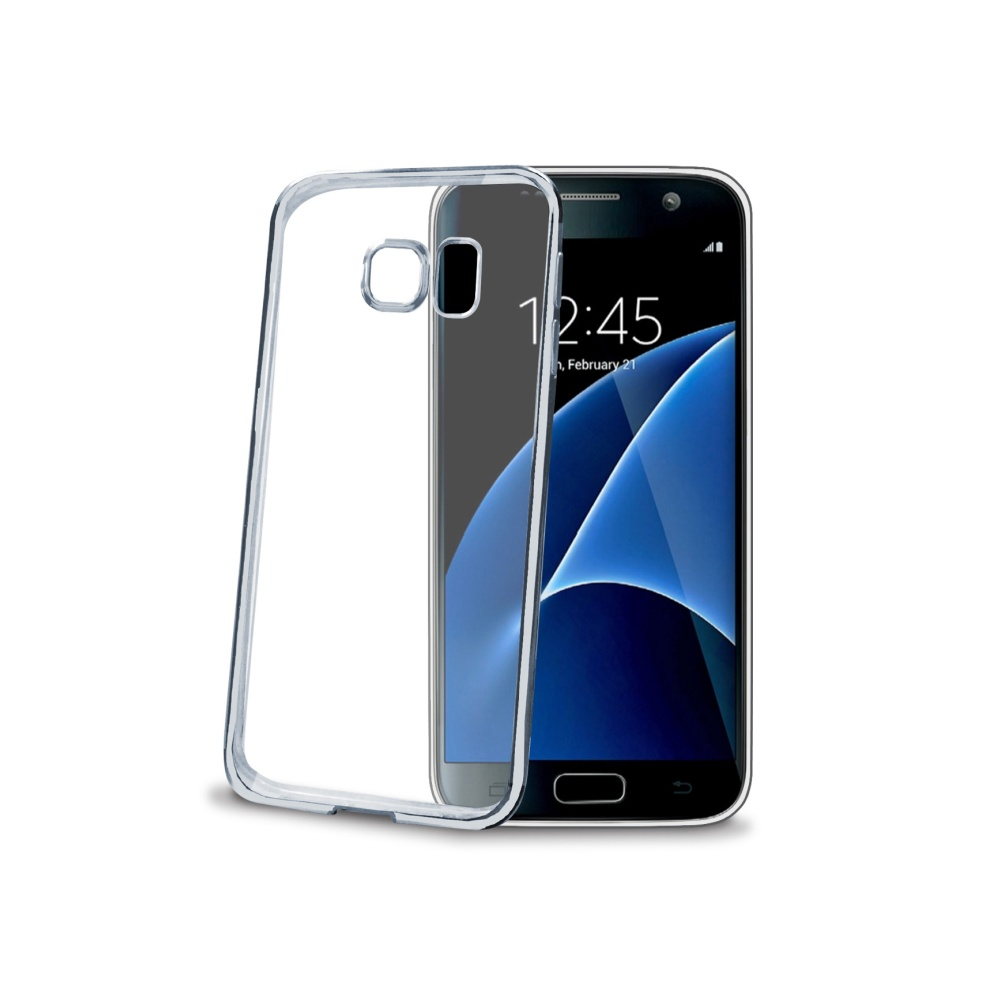 CELLY Laser silikonové pouzdro Samsung Galaxy S7 stříbrné