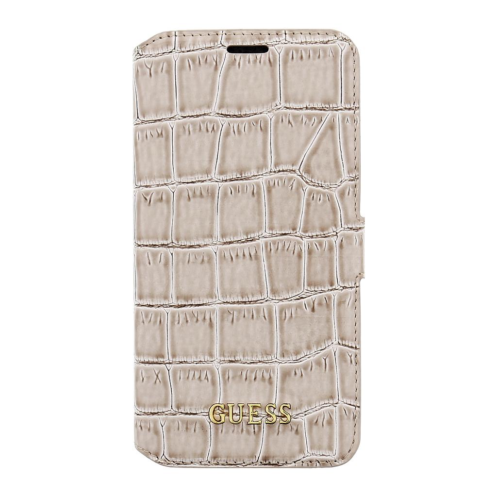 Guess Shiny Croco pouzdro flip GUFLBKS7SCOBE Samsung Galaxy S7 béžové