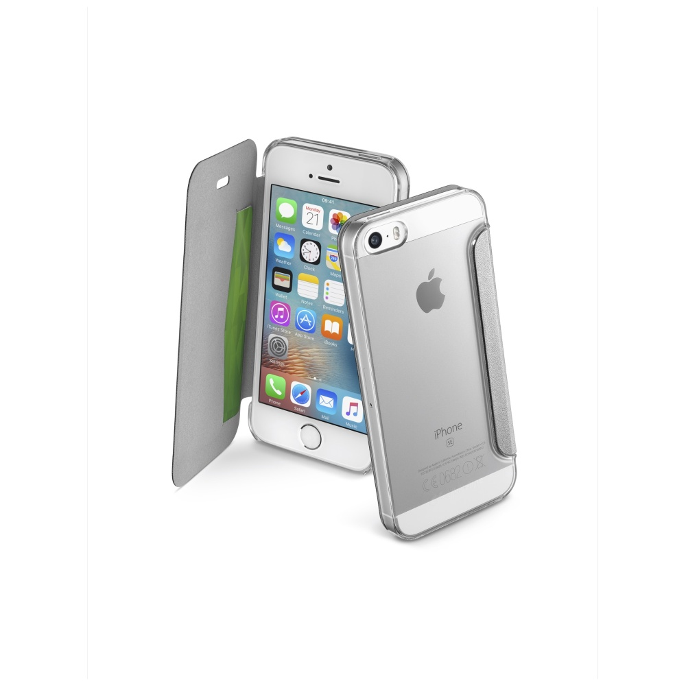 CellularLine Clear Book flipové pouzdro Apple iPhone 5/5S/SE stříbrné