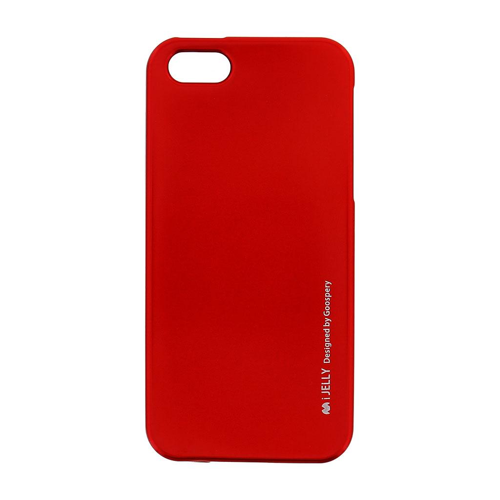 Silikonové pouzdro Mercury i-Jelly METAL pro Apple iPhone 5S/SE, Red