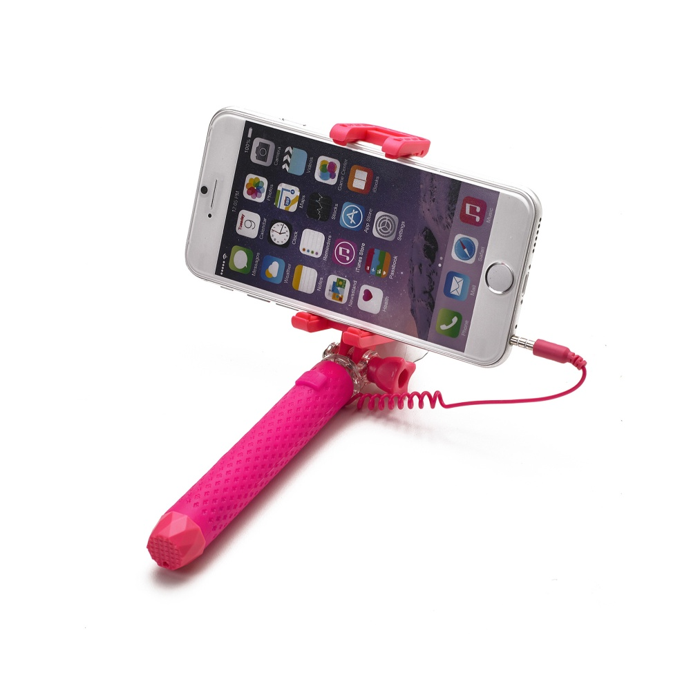Selfie tyč CELLY Mini selfie, spoušť přes 3,5 mm jack, kompaktní rozměry, růžová
