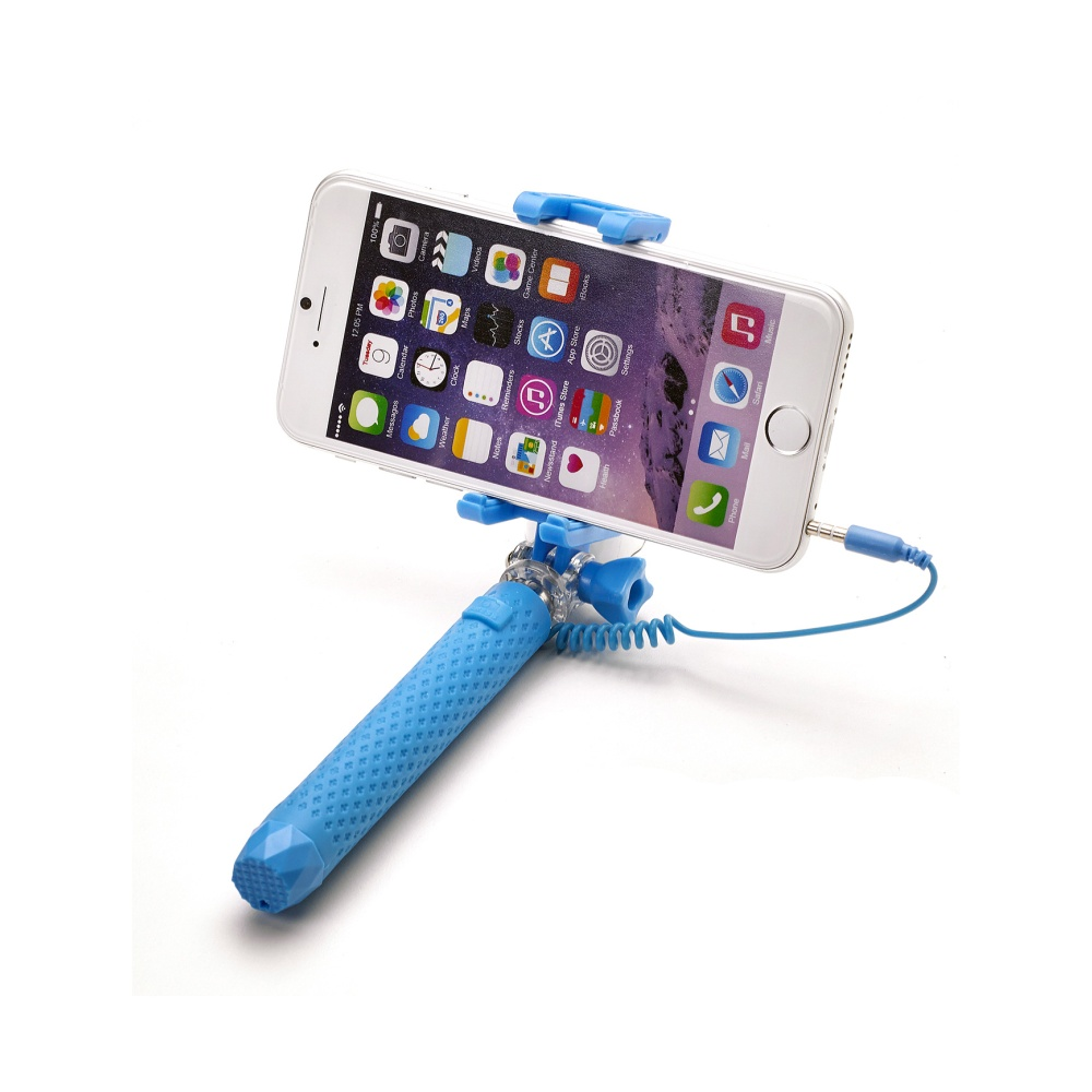 Selfie tyč CELLY Mini selfie, spoušť přes 3,5 mm jack, kompaktní rozměry, světle modrá
