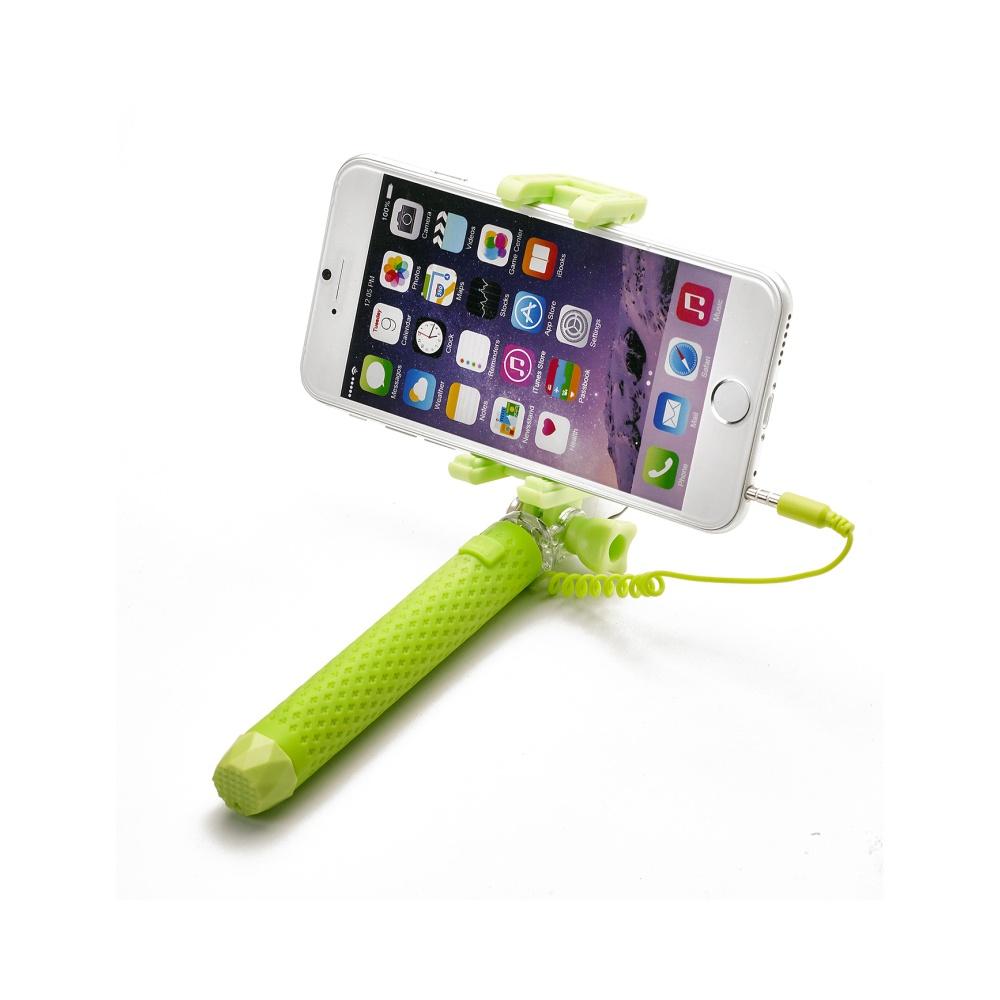 Selfie tyč CELLY Mini selfie, spoušť přes 3,5 mm jack, kompaktní rozměry, zelená