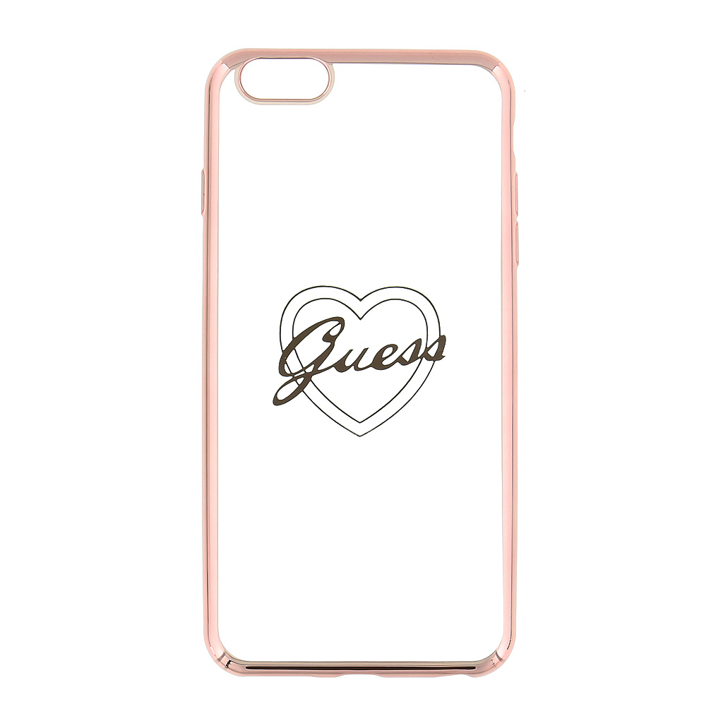 Guess Signature GUHCP6LTRHRG silikonové pouzdro pro Apple iPhone 6/6S Plus, Heart Rose Gold