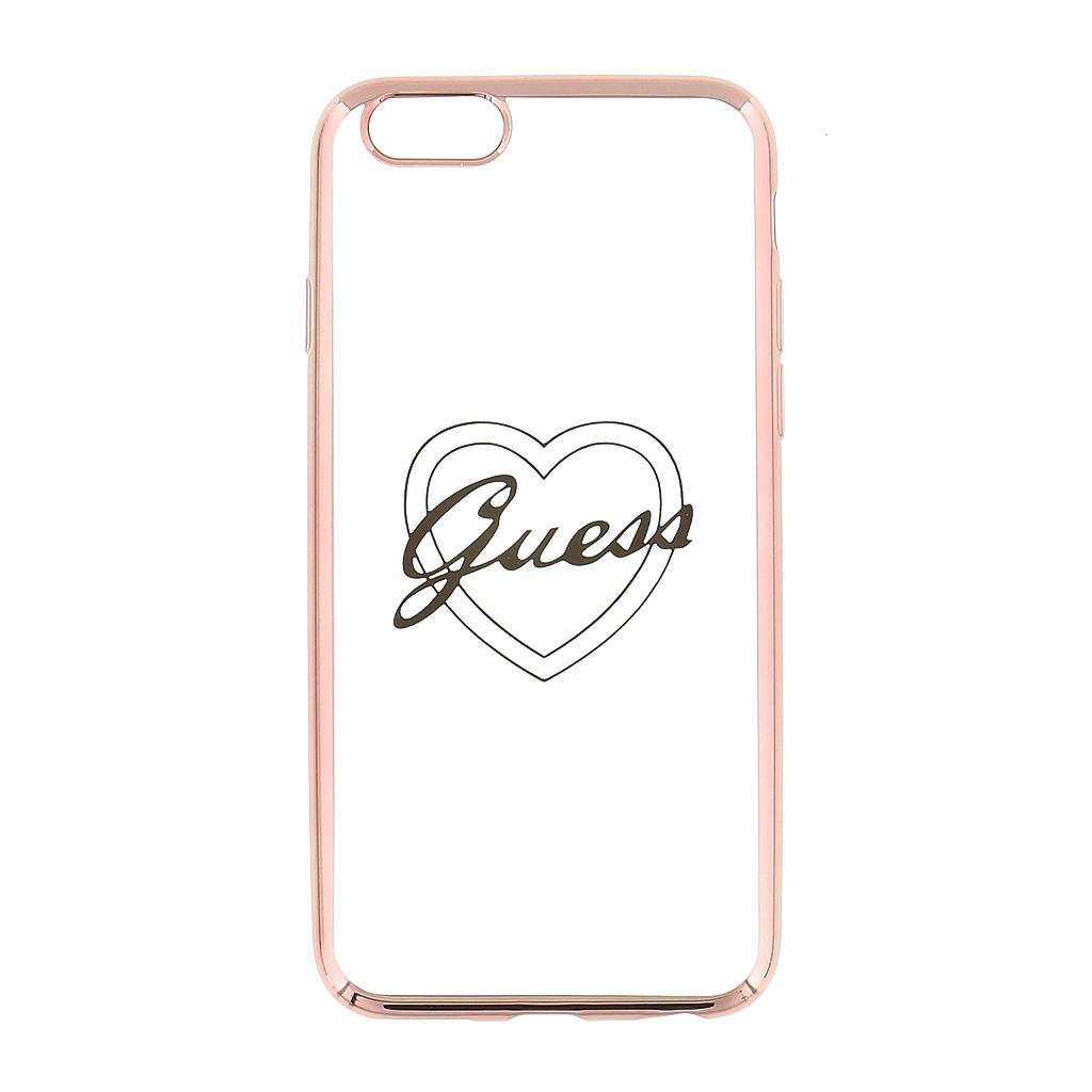 Guess Signature GUHCP6TRHRG silikonové pouzdro pro Apple iPhone 6/6S Heart Rose Gold