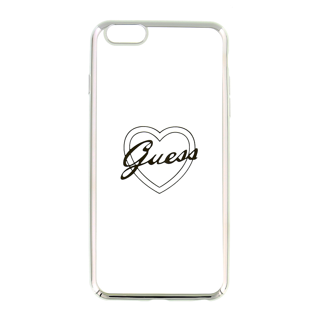 Guess Signature GUHCP6LTRHS silikonové pouzdro pro Apple iPhone 6/6S Plus Heart Silver
