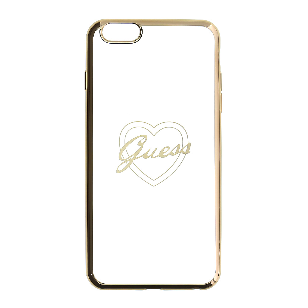 Guess Signature GUHCP6LTRHG silikonové pouzdro pro Apple iPhone 6/6S Plus Heart Gold