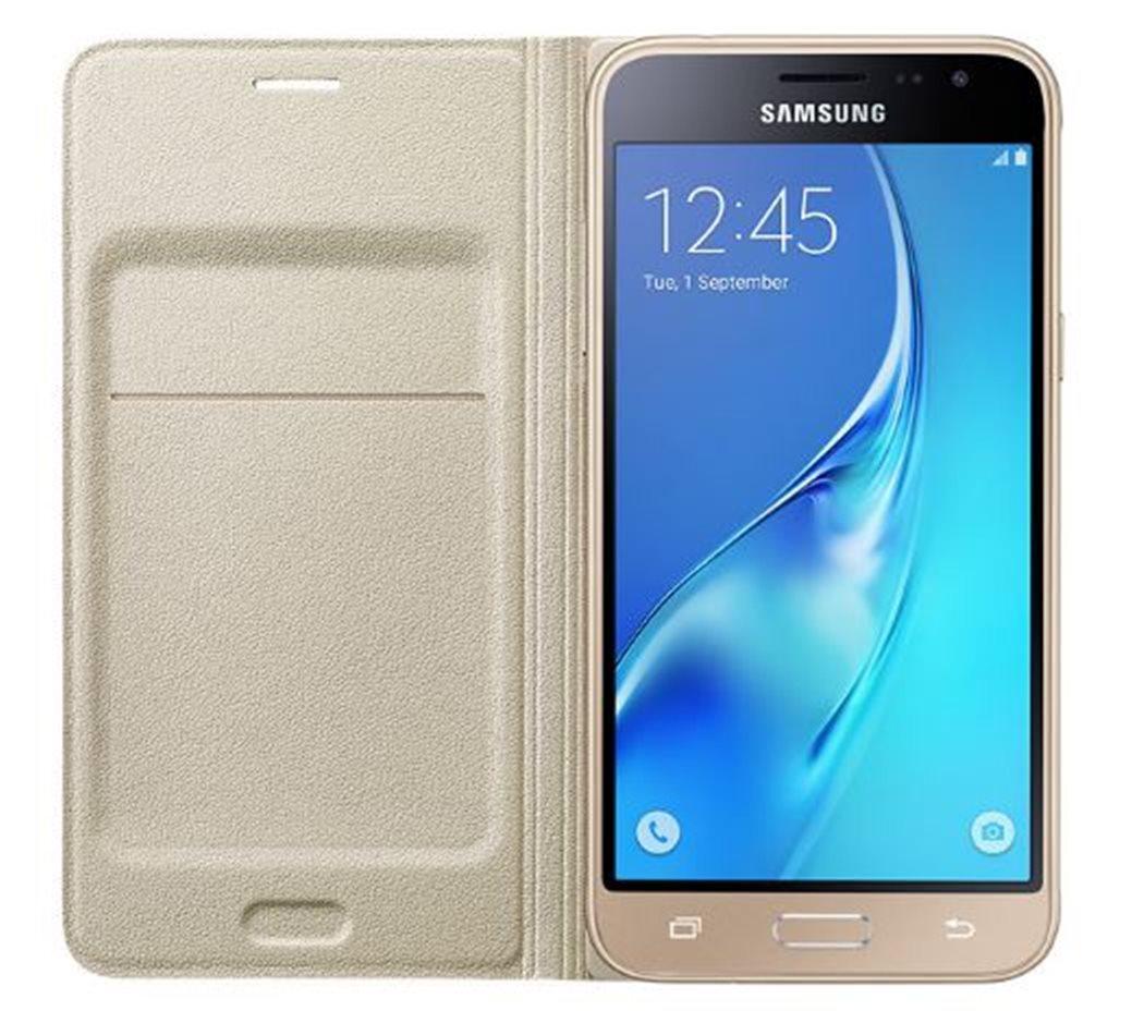 Samsung EF-WJ320PFE pouzdro flip Samsung Galaxy J3 2016 zlaté