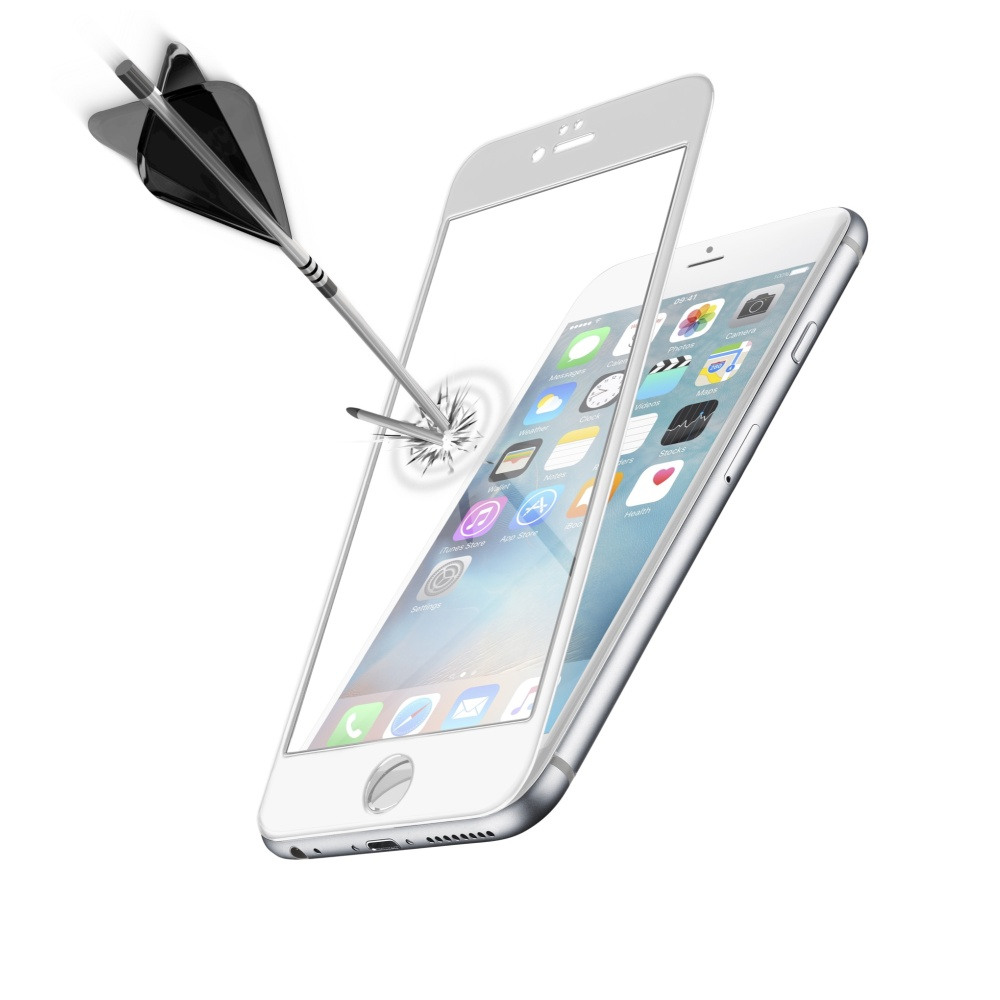 Tvrzené sklo CellularLine CAPSULE pro celý displej na Apple iPhone 6 Plus, bílé