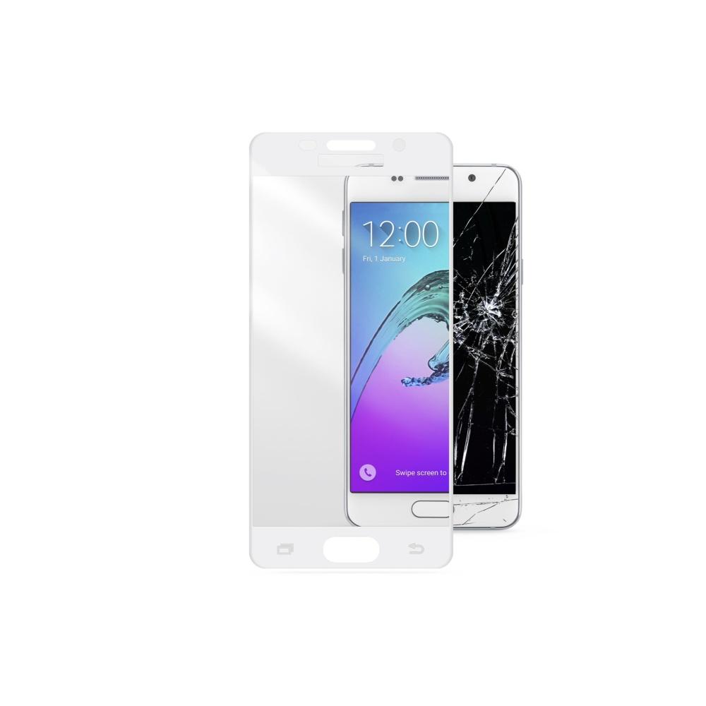 Tvrzené sklo CellularLine CAPSULE pro celý displej na Samsung Galaxy A5 (2016), bílé