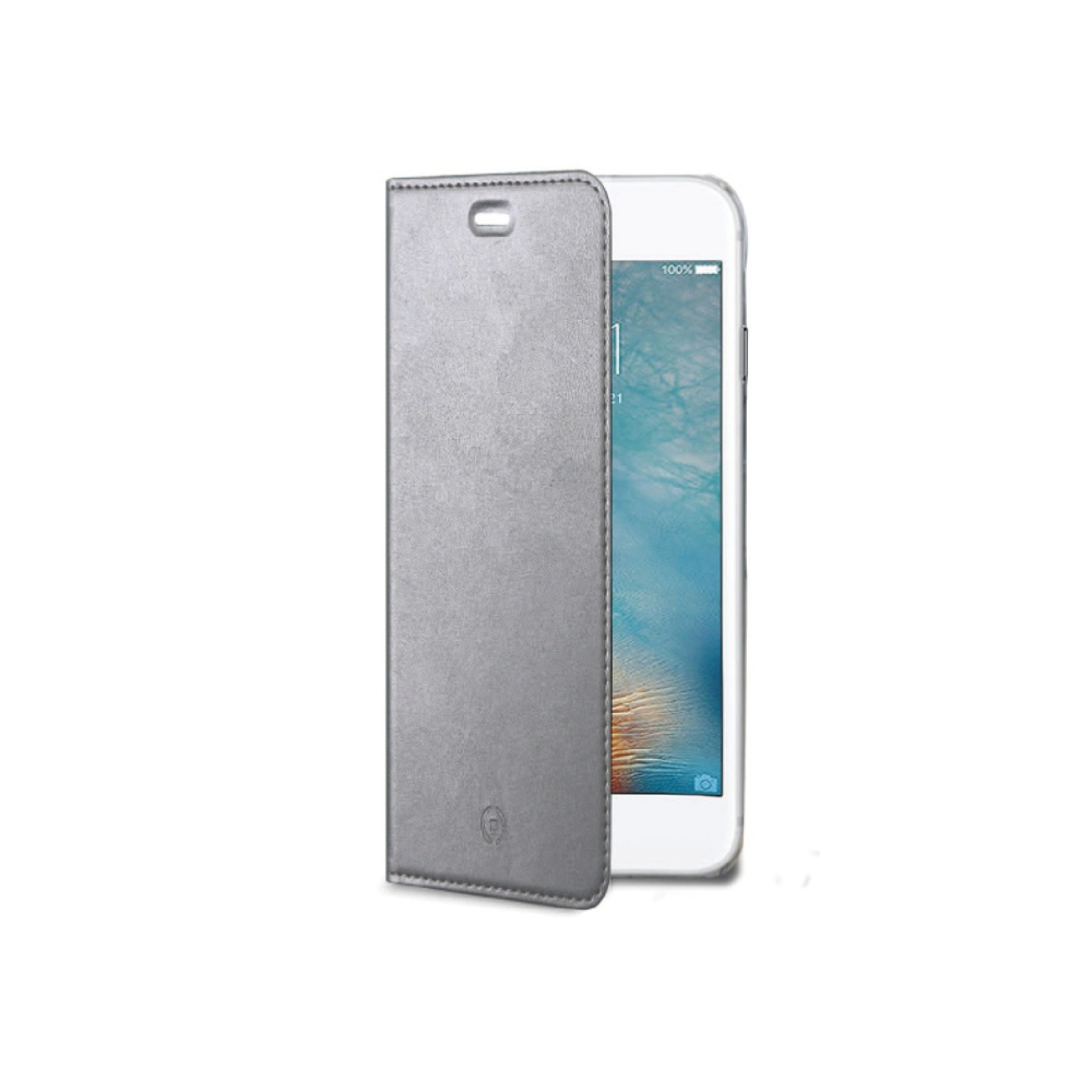 CELLY Air Ultra tenké flipové pouzdro Apple iPhone 7 stříbrné
