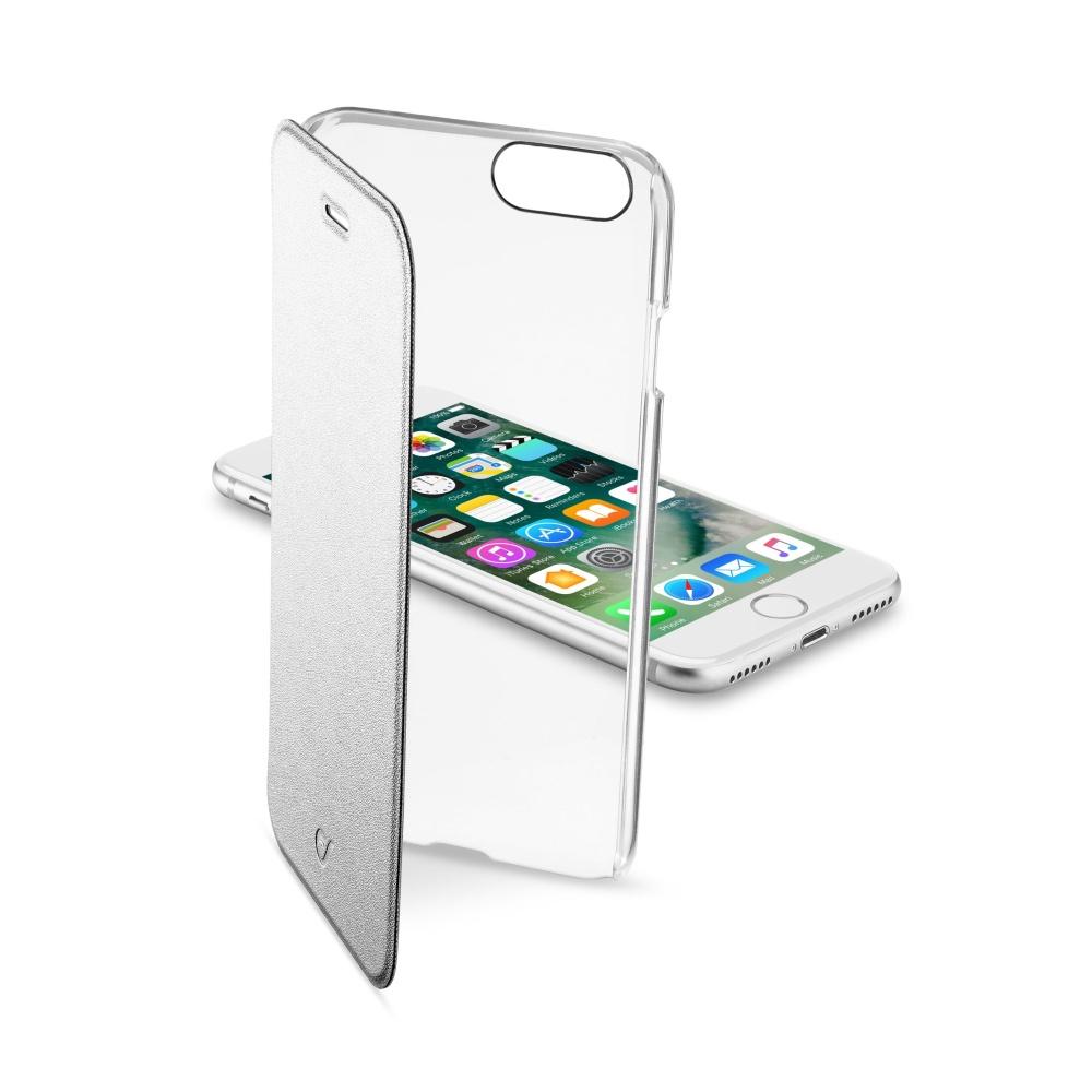 CellularLine Clear Book flipové pouzdro Apple iPhone 7 stříbrné