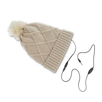 Zimní čepice se sluchátky Forever Bobble krémově bílá