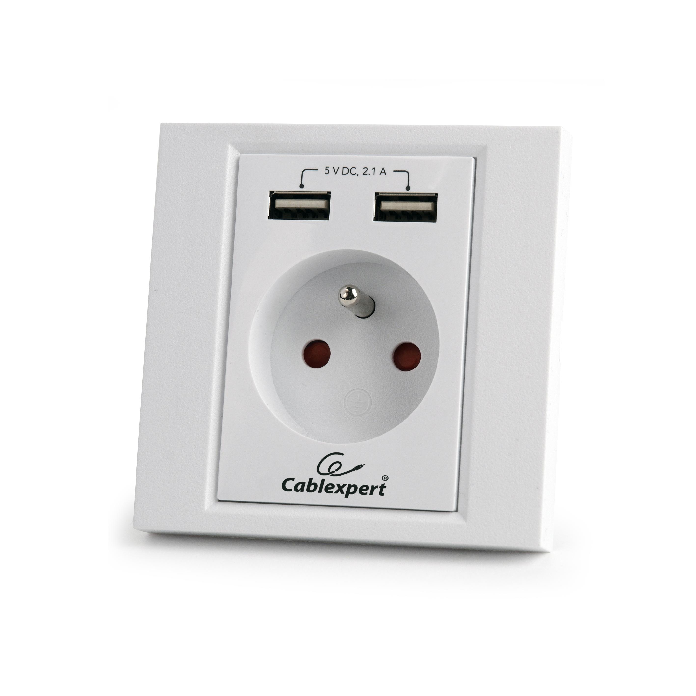 Gembird Nabíječka USB elektrická zásuvka 230V, 2100mA, 2x USB, bílá