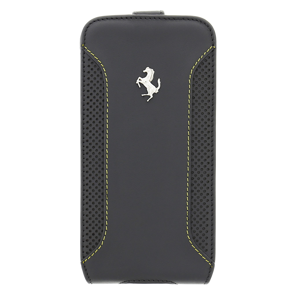 FEF12FLS5DG Ferrari Kožené Flip Pouzdro Dark Grey pro Samsung G900 Galaxy S5