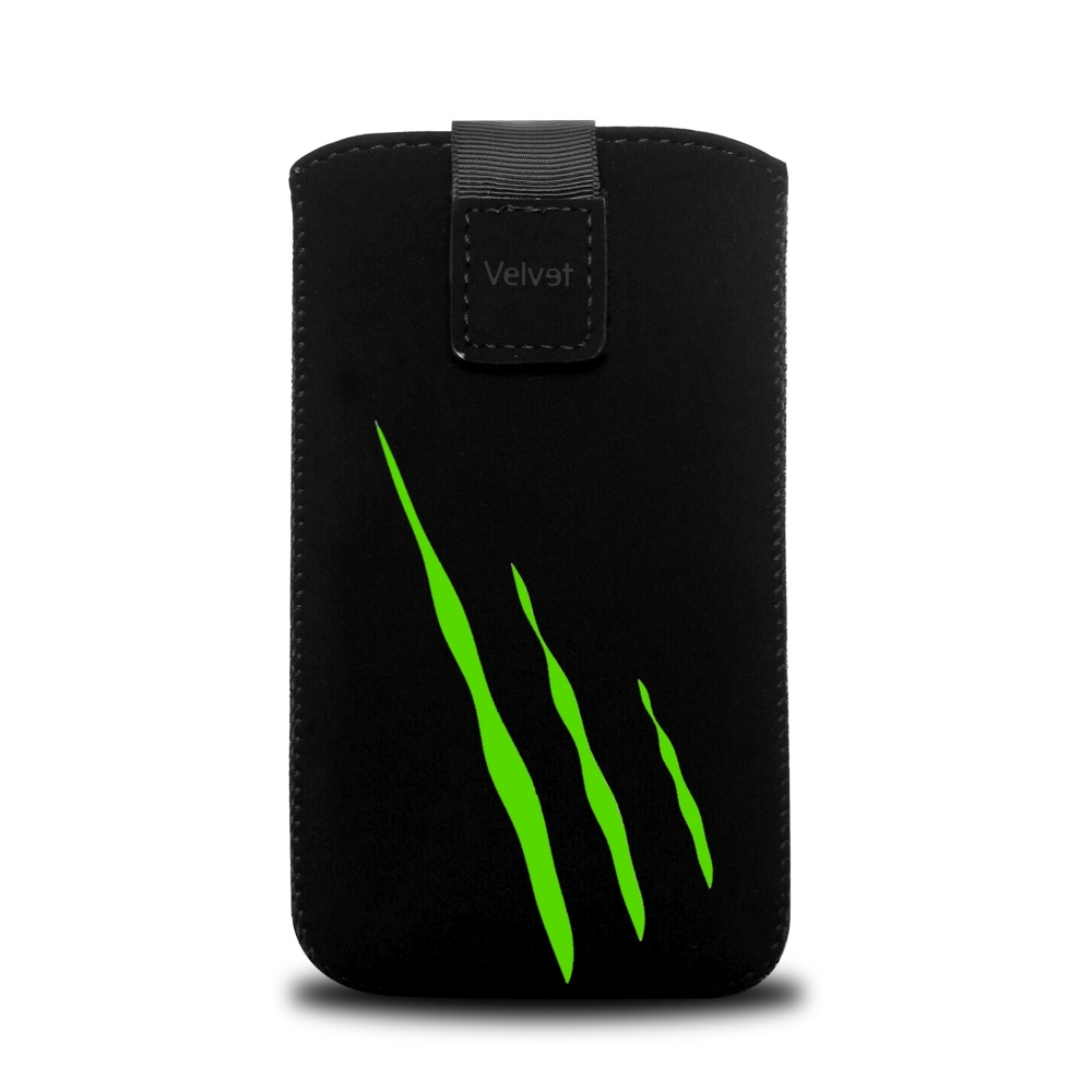 Univerzální pouzdro FIXED Velvet, mikroplyš, motiv Green Scratch, velikost 5XL+