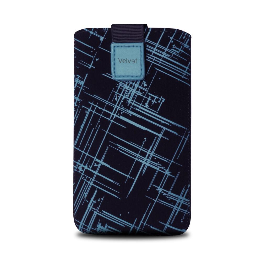 Univerzální pouzdro FIXED Velvet, mikroplyš, motiv Blue Stripes, velikost 5XL+