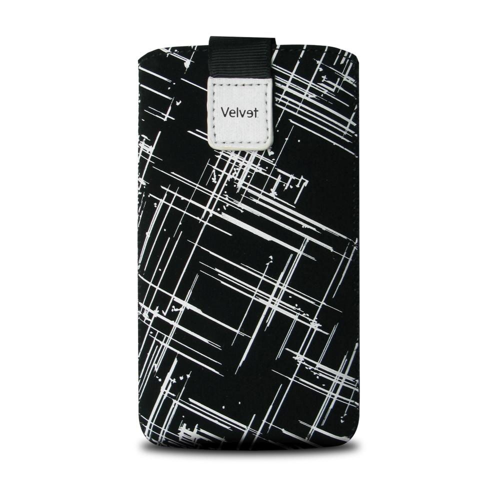 Univerzální pouzdro FIXED Velvet, mikroplyš, motiv White Stripes, velikost 5XL+