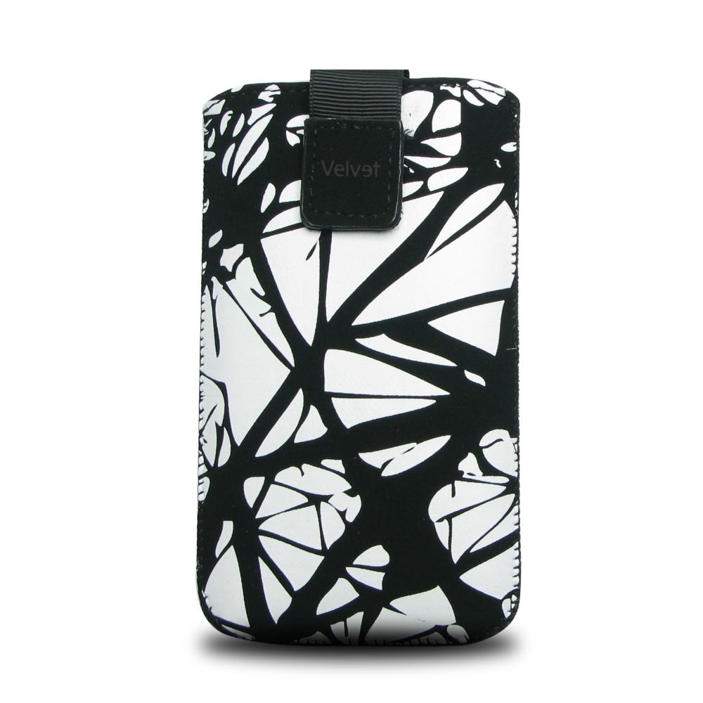 Univerzální pouzdro FIXED Velvet, mikroplyš, motiv White Cracks, velikost 5XL+