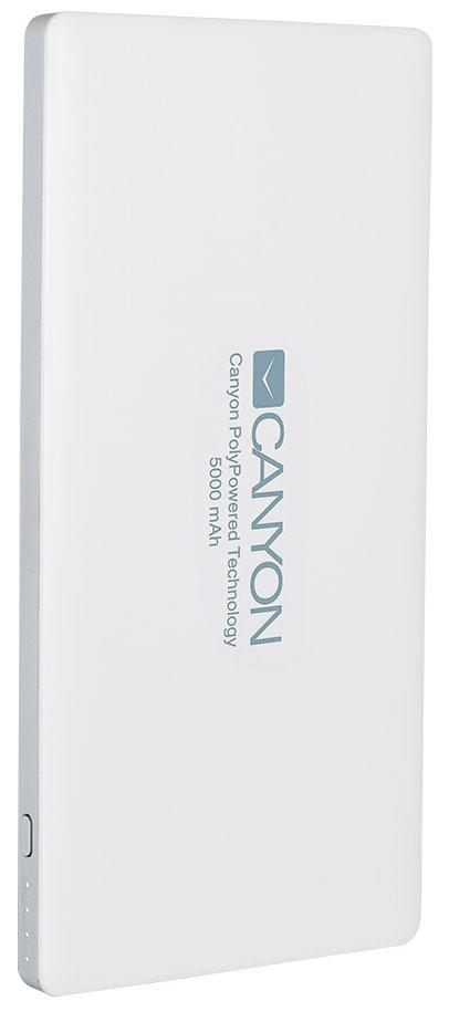 CANYON powerbanka 5000 mAh, 2*5V/1.5-2.2A a USB output 5V/2A (max.), bílá
