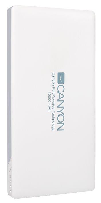 CANYON powerbanka 10000 mAh, 2*5V/1.5-2.2A a USB output 5V/2A (max.), bílá