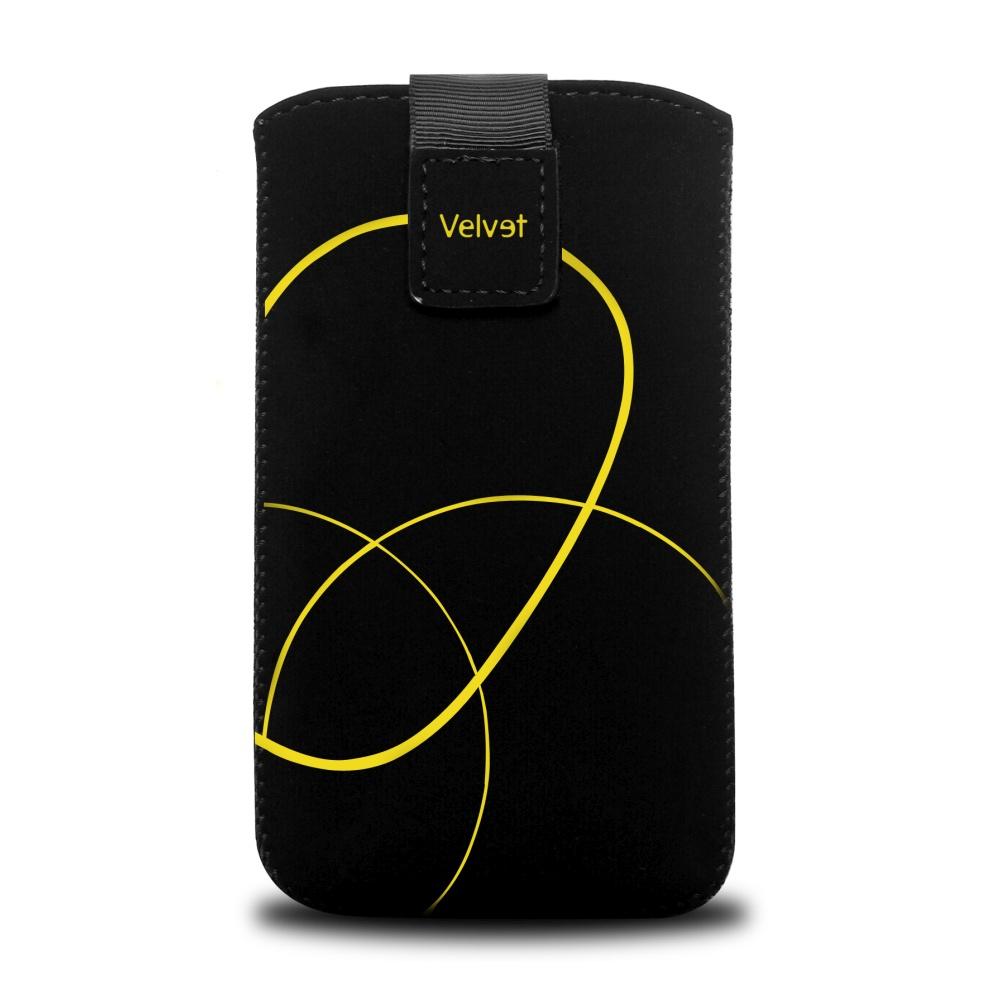 FIXED Velvet Univerzální pouzdro motiv Stripe Yellow velikost 5XL