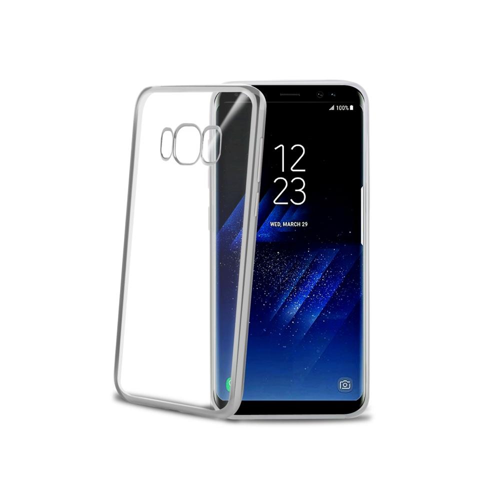 CELLY Laser silikonové pouzdro - lemování s kovovým efektem pro Samsung Galaxy S8 Plus, stříbrné