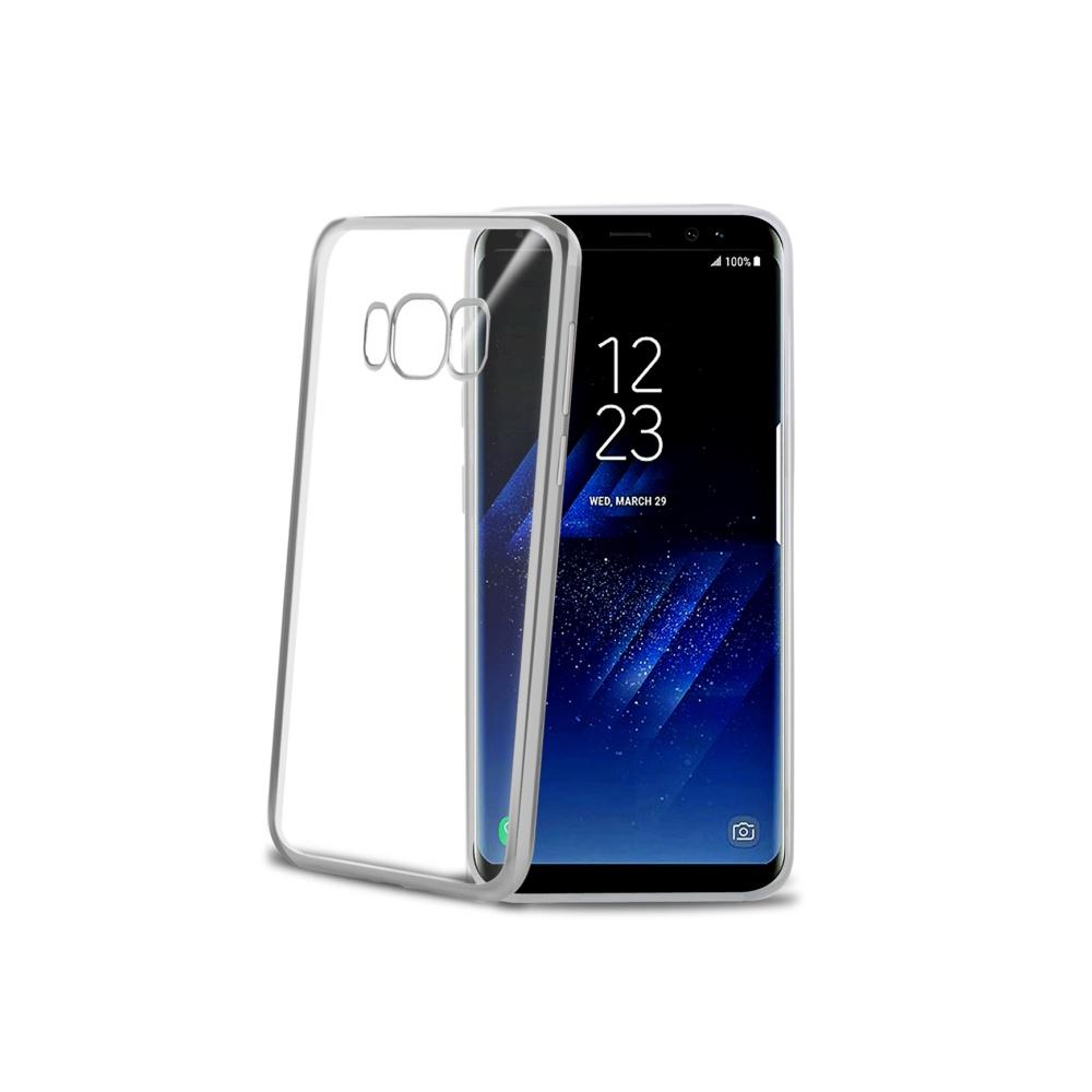 CELLY Laser silikonové pouzdro - lemování s kovovým efektem pro Samsung Galaxy S8, stříbrné